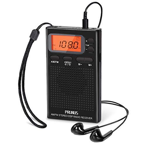 Mini Radio Portatili FM/AM PRUNUS J-125( Numerazione manuale), Radiolina Portatile con Cuffie, Con Chiave di Blocco, Orologio e Sveglia, Alimentato da 2 Batterie AAA Batteries(NON INCLUSO)