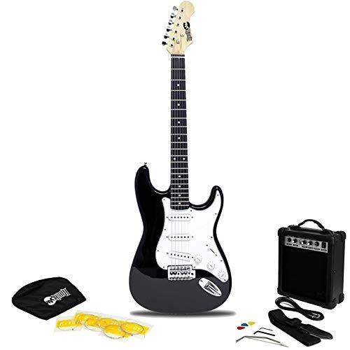 Rockjam Schermo Intero Chitarra Elettrica Superkit con Il Sacchetto Chitarra Cinghia della Chitarra e Cavo per Chitarra Chitarra Amplificatore per Chitarra Stringhe Nero