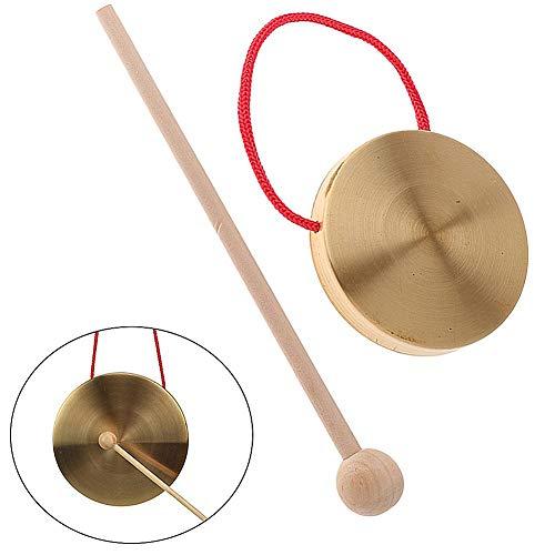 bulrusely Piatti per Mini Gong A Mano da 4 Pollici, con Bacchetta da Chiesa, Percussioni, Strumenti in Ottone, Rame, Giocattolo Musicale per Bambini