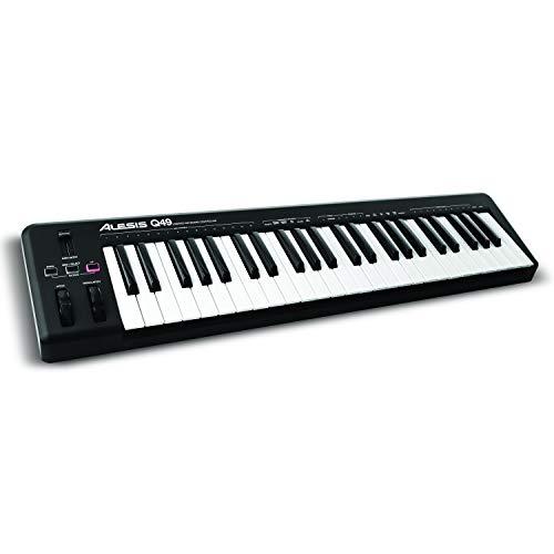 Alesis Q49 - Tastiera MIDI Controller USB con 49 Tasti Sensibili alla Dinamica, Pitch & Modulation Wheel + Software Ableton Live Lite & Ignite