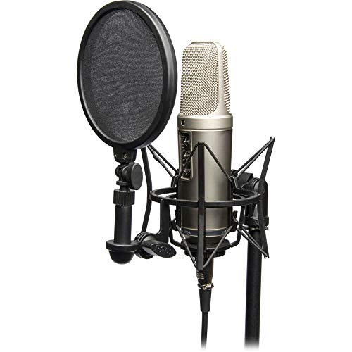 """Rode NT2-A Complete Bundle, Microfono a Condensatore, Doppio Diaframma Largo da 1"""", Risposta Polare Cardioide/Omni/Figura 8, Comprende SM6, Argento"""