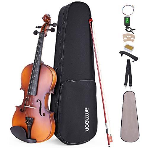 ammoon Violino 1/4 Finitura Opaca Topboard Pino Bianco Credenza Acero Credenza Arco in Mogano con Custodia per Il Trasporto Poggiaspalla Accordatore Corde