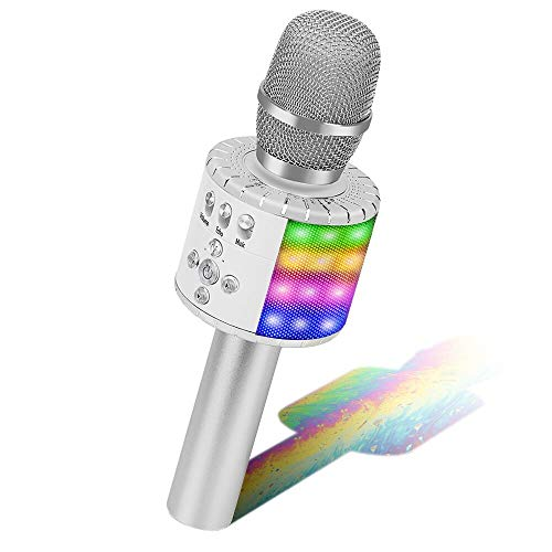 BONAOK Wireless Bluetooth Microfono Karaoke, Microfono Wireless Bambini con luci a LED controllabili, Portatile KTV Karaoke Player Mic per Android/iPhone/iPad/Sony/PC (Argento)