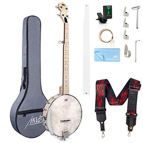 Banjo a 5 corde, Banjo in acero da 39 pollici aperto indietro Remo Head con Tuning Wrench Picks Corde Tuner Strap Righello Panno per pulizia Custodia morbida per nuovi professionisti principianti