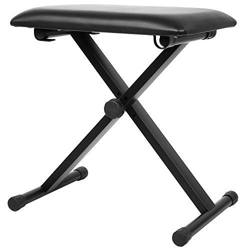 FEMOR - Set con supporto e panca per tastiera, regolabile in altezza e pieghevole, colore: nero Keyboard-Sitzbank Panca per tastiera