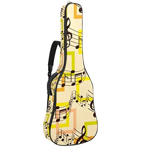 Custodia impermeabile con cerniera morbida per chitarra, bassi, acustici e classici, borsa per chitarra elettrica con texture note di violino, suono musicale