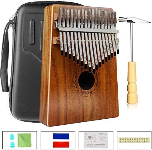 Kalimba 17 Tasti, Thumb Piano Legno Massiccio Finger Piano Portatile Strumento Musicale Africano con Borsa in EVA e Martello per Bambini, Adulti e Principianti(KOA)
