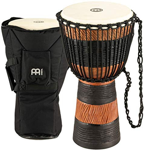 Meinl Percussion ADJ3-M+BAG - Djembe, collezione Earth Rhythm, misura media (10'/25,4 cm), custodia inclusa, colore: Marrone