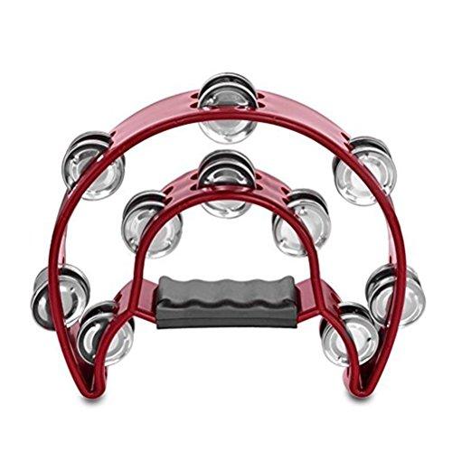 rosenice Hand Tambourine Tamburello a doppio petto a forma di mezzaluna (rosso)