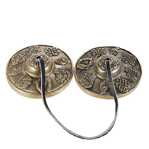 ammoon Tingsha Meditazione Tibetana Centimetri Fatto a Mano Cymbal Bell con buddista Gli Otto Simboli Favorevoli 2.6in / 6,5cm