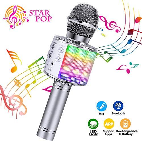 ShinePick Microfono Karaoke, 4 in 1 Bluetooth Wireless Microfono Portatile Karaoke Player con Altoparlante per Android/iOS, PC e Smartphone (Argento)