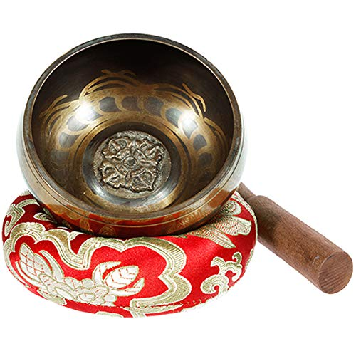 Rovtop Campana Tibetana 9.5 cm 9 Metalli (Migliore di 7 Metalli), Percussione a Mano per Meditazione Buddista Cura Yoga Musicoterapia