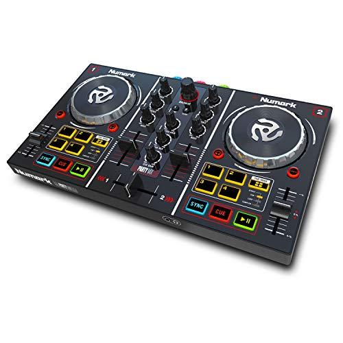 Numark Party Mix - Console DJ a 2 Canali per Serato DJ Lite, con Scheda Audio Integrata, Presa Cuffie, Controlli Pad, Crossfader, Jog Wheel e Luci da Discoteca