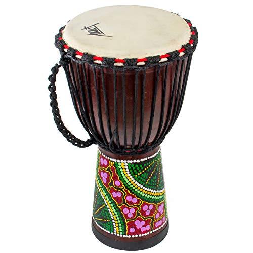 AKLOT Tamburo Djembe 50 cm tamburo africano Bongo Congo intagliato a mano Tamburo da in pelle di capra di mogano massello per bambini professionisti (diametro 25 cm, altezza 50 cm)