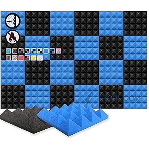 Arrowzoom 24 Pannelli Fonoassorbenti Piramidali Correzzione Acustica Ritardante di Fiamma Isolamento Acustico 25x25x5cm Blu & Nero