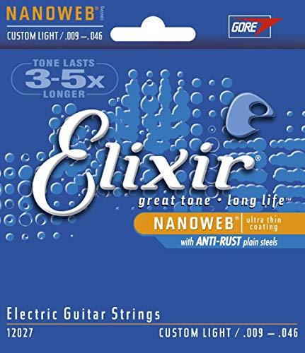 Elixir 12027 Muta Composta da 6 Corde per Chitarra Elettrica, Custom Light, Rivestimento Nanoweb