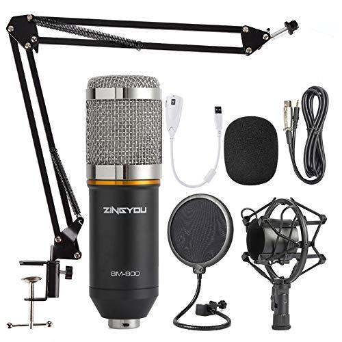 ZINGYOU Microfono a condensatore, Kit microfono per registrazione professionale BM-800 con braccio a forbice, sospensione regolabile, filtro anti-urto e filtro anti-pop (Argento)