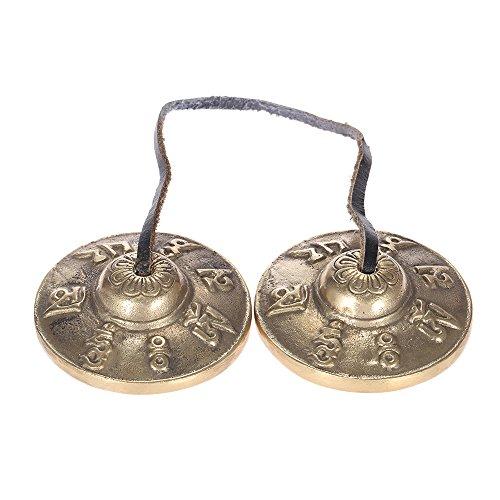 ammoon Tingsha Campana Tibetana 2.6in / 6,5 centimetri Fatto a Mano Meditazione Bell Piatto con Simboli Fortunati Buddisti