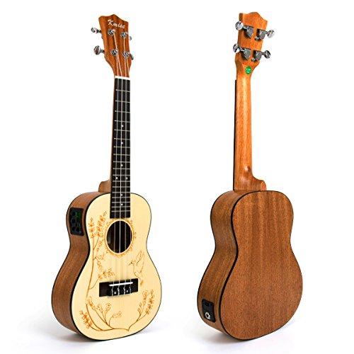 Kmise, ukulele acustico, chitarrina hawaiana, in abete resistente, 58 cm Concert 23 inch UK-24