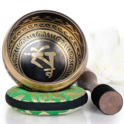 Silent Mind ~ Campana Tibetana con Accessori ~ Modello Equilibrio e Armonia ~ Con Battente a Doppia Superficie e Cuscino di Seta ~ Favorisce la Serenità, la Guarigione dei Chakra e la Consapevolezza ~ Dono Squisito (Bronzo)