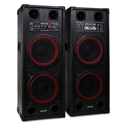 Skytec SPB-210 set coppia casse attive amplificate attiva / passiva (1200 Watt, 2 x subwoofer da 25 CM, USB SD MP3, bass reflex, 2 x MIC IN)