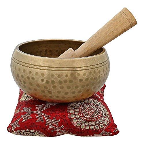 ShalinIndia - Strumento musicale per meditazione con bastone e cuscino, campana buddhista tibetana per canto, in metallo, 10,16 cm, alta qualità