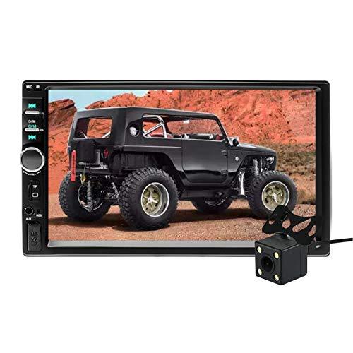 Aigoss Autoradio Bluetooth 2 Din 7' Touch Screen per Stereo Auto Radio Vivavoce Lettore MP5 con Telecamera Posteriore, Bluetooth/FM/USB/AUX/TF/Mirror Link