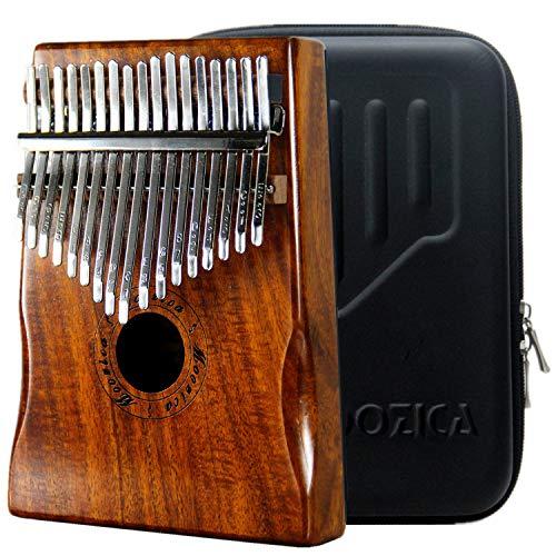 Moozica kalimba professionale a 17 tasti, Pianoforte da pollice di alta qualità con custodia protettiva (Acacia Koa-K17K)