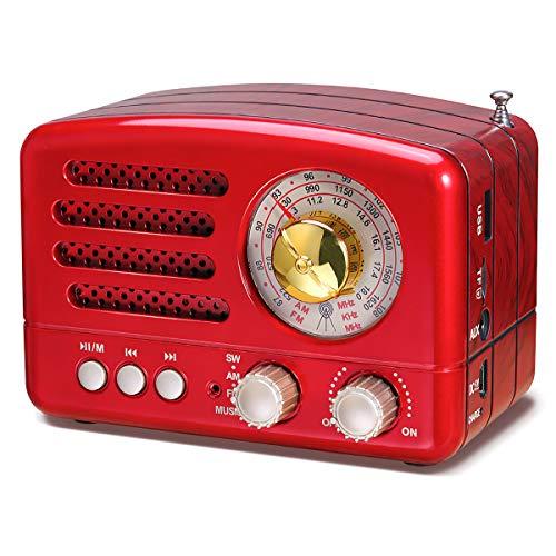 PRUNUS Radio Portatile Vintage FM/AM(MW)/SW, Altoparlante Bluetooth Retro,Manopola di Regolazione Extra Large,Batteria Ricaricabile da 1800 mAh Potenziata,Supporta TF Card/AUX/USB MP3 Player.