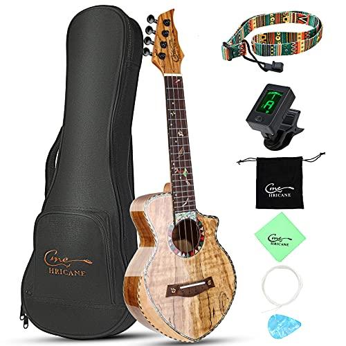 Hricane Ukulele da concerto in acero decadente Spalted Maple Professional liscio lucido Ultra sottile Chitarra Hawaii Concert strumenti musicali 23 pollici con custodia