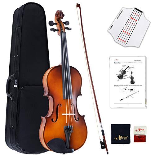 Aileen Violino Full Size 4/4 Set in Legno Massiccio Studenti Adulti Principianti Set di Violino - Finitura Satinata