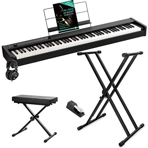 Korg D1 - Set per pianoforte digitale, con pedale, leggio, cuffie, tastiera e supporto, colore: Nero
