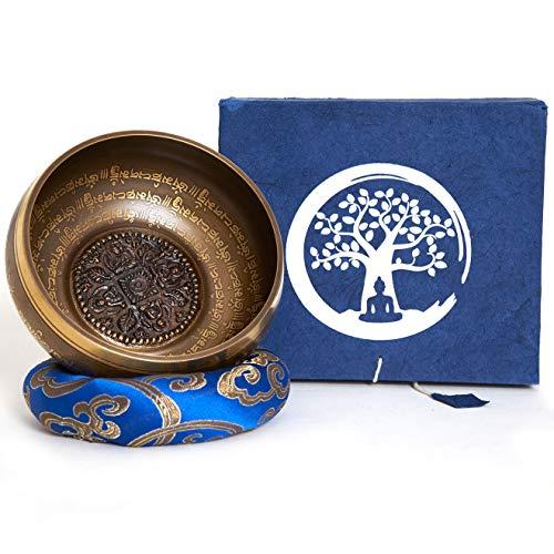 Campana tibetana fatto a mano in Nepal – 600g – 14cm – 5 Metalli – Batacchio di palissandro con pelle – Set box in Lokta paper – Incisione in Nepālī – per la meditazione e terapia del suono