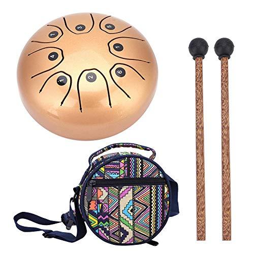 Tamburo in acciaio, con bacchetta per meditazione, yoga, guarigione del suono, oro