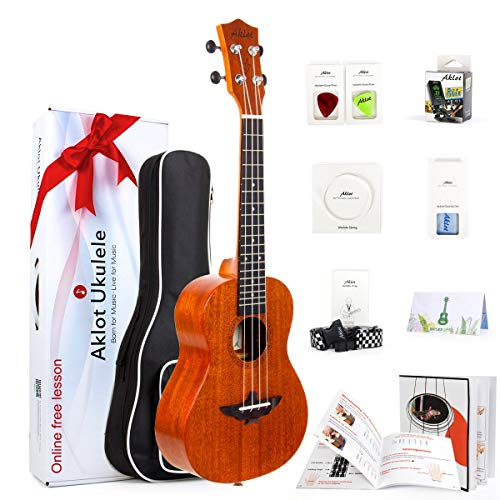 AKLOT Concerto Ukulele Solido Mogano 23 Pollici Ukelele Con Lezione Online Gratuita Starter Kit per Principianti Professionale Bambino Adulti
