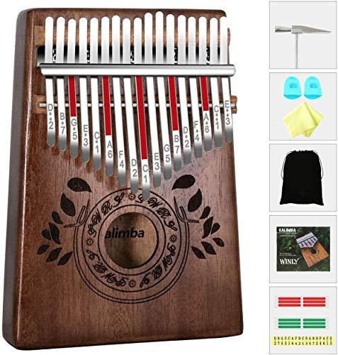 Kalimba 17 tasti - Kalimba Thumb Piano, Legno africano di alta qualità, Mbira con martello accordatore, borsa per pianoforte, istruzione di studio, Regalo di Natale Kalimba per principianti bambini