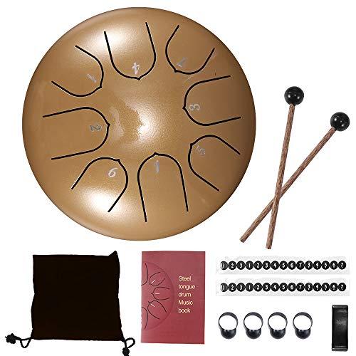 Konesky Steel Pan Steel Tongue Drum Tamburo a Percussione a Mano da 6 Pollici 8 Tune Etereo con Borsa per Il Trasporto, 2 Bacchette, Libretto di Esercitazione, 4 Scelte per le Dita, Oro