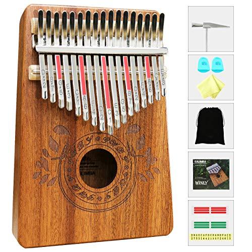 Kalimba - Thumb Piano 17 tasti, professionale finger piano con Strumento Musicale Tradizionale con Accessori e Istruzione e martello, portatile, in legno africano, per bambini, adulti e principianti