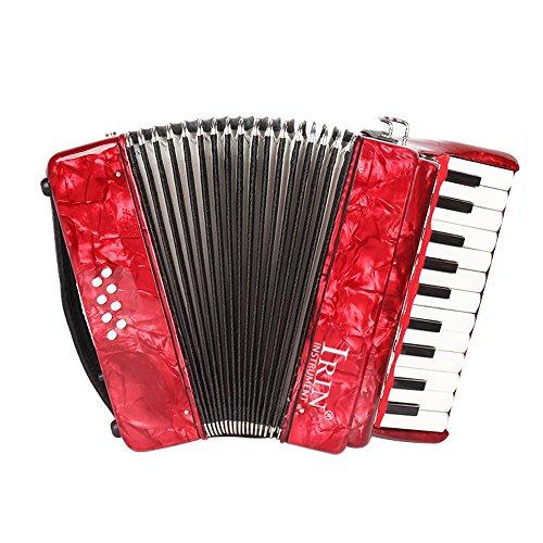 Ammoon 22-key 8Bass piano fisarmonica con cinghie guanti di pulizia strumento musicale educativo per studenti principianti Childern, Red