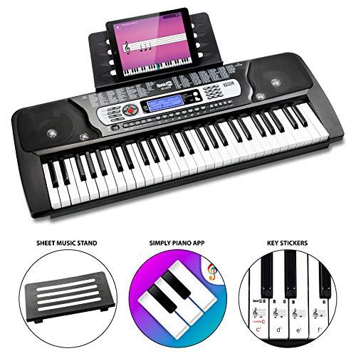Rockjam 54 Tasto della Tastiera di Pianoforte con Supporto Foglio di Musica per Pianoforte Nota Potere Adesivo di Alimentazione e Semplicemente L'Applicazione Pianoforte