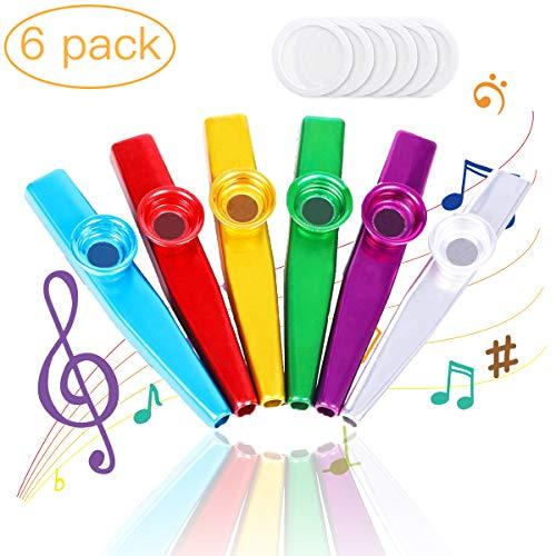 Kazoo,6 Pezzi Kazoo Metallo e Membrane, Kazoo Strumento Musicale un buon Compagno per Chitarra, Ukulele, Violino, Tastiera di Pianoforte per Bambini(Blu/Oro/Rosso/Argento/Verde/Fucsia)