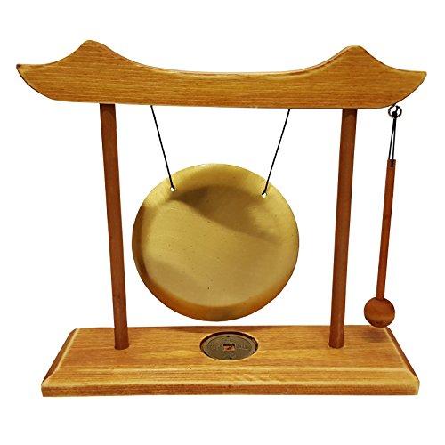 Find Something Different Trovare Qualcosa di Diverso da Tavolo Decorativa Gong in Cornice di Legno, Vetro, Multicolore, 12cm di Diametro