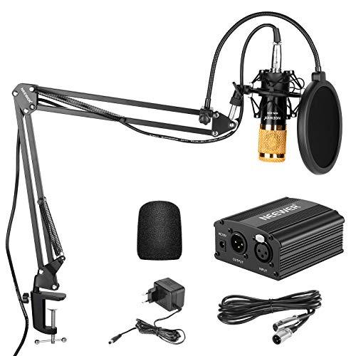 Neewer Kit di Microfono a Condensatore NW-800: Microfono Dorato, Alimentazione 48V Phantom, NW-35 Stand con Supporto Anti-vibrazione, Filtro Pop & Cavo XLR per Registrazioni a Casa in Studio