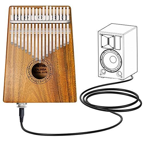 Kalimba 17 Tasti Thumb Piano Denti in Metallo con Corpo in Legno Koa con Attrezzo per Accordatura e Borsa per il Trasporto di Finether (Legno Koa+ pickup jack)