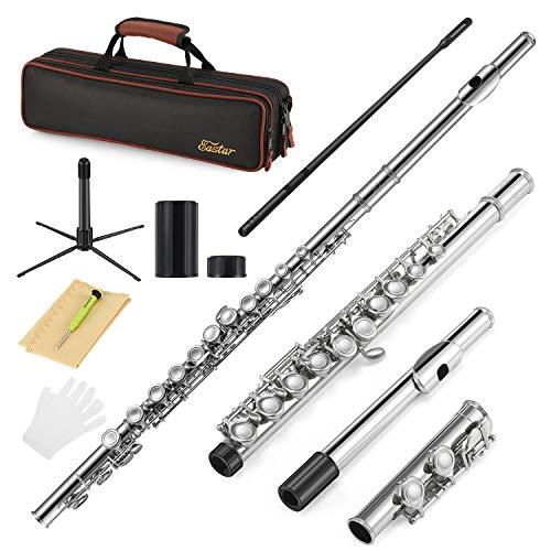 Eastar Nickel Foro Chiuso 16 Tasti di C Studente Principiante Flauto per bambini Set di Strumenti Musicali con Custodia per il Trasporto Guanti per Supporto Asta di Pulizia e Panno (EFL-1)