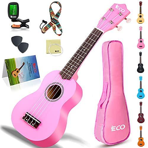 Kit per principianti di ukulele soprano per bambini e principianti, ukulele da 21 pollici con libro di canzoni, custodia, cinturino, accordatore, corde e plettri - rosa