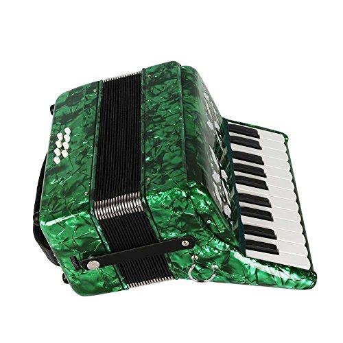 Dilwe Fisarmonica Legno d'Acero, 22 Tasti 8 Bass Fisarmonica a Tastiera con Tracolla Guanti Panno Pulito per Principianti(Verde)
