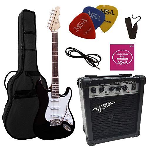 Vision, Chitarra elettrica nera, set con amplificatore da 20Watt, borsa, nastro,corde, 3 plettri