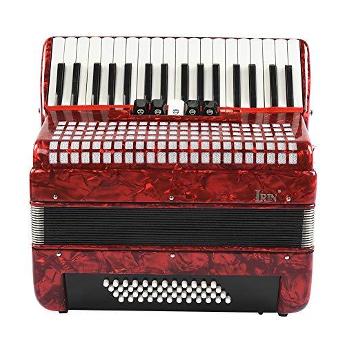 Neufday Strumento Musicale per Fisarmonica a Basso, 34 Tasti Rossi 48 Strumento per Fisarmonica per Principianti Adulti per Fisarmonica a Pianoforte