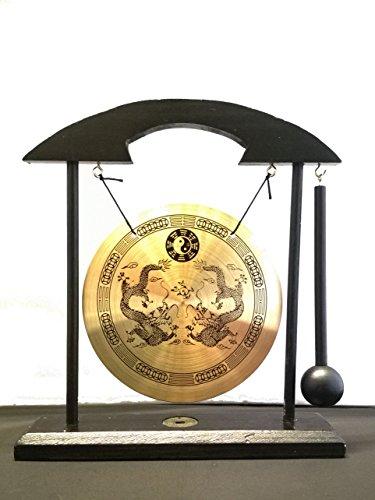 ICT Gong Tradizionale Artigianale Cinese in Legno Doppio Drago